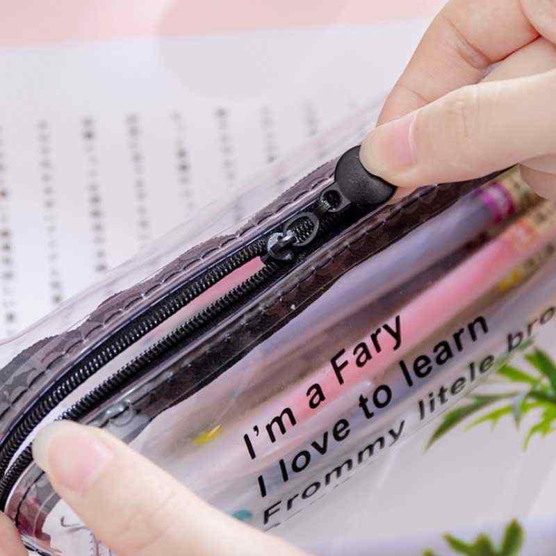 Kawaii yıldızlı gökyüzü kalp kalem kutusu kız erkek hediyeler okul sevimli şeffaf kalem kutusu kalem kutusu kore okul kırtasiye