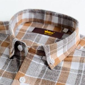 Image 2 - Erkek % 100% pamuk fırçalanmış flanel ekose damalı gömlek Casual uzun kollu standart fit düğme aşağı yakalı şemsiye Tops gömlek
