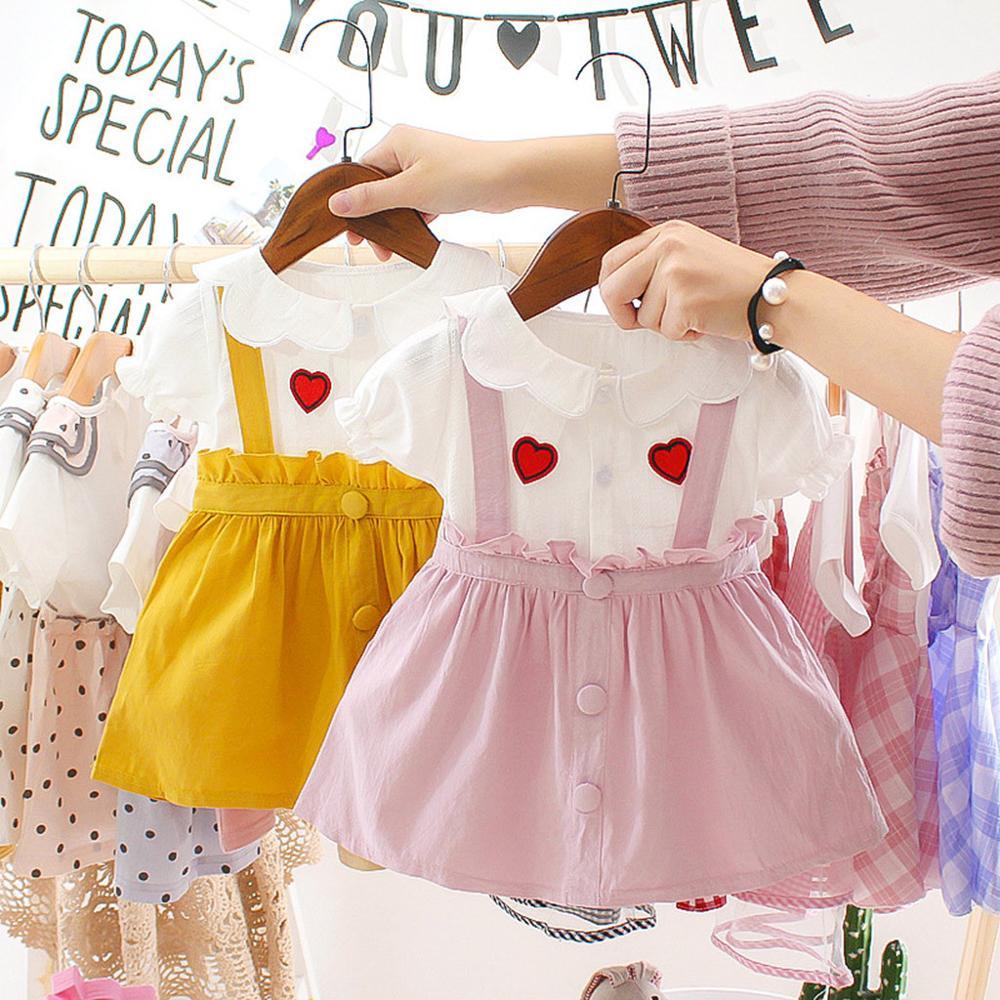 Infant Baby Girls Summer Dress Doll Collar Short Sleeve Love Print Ruffles Princess Dress Clothes Sundress Pink Princess Dresses