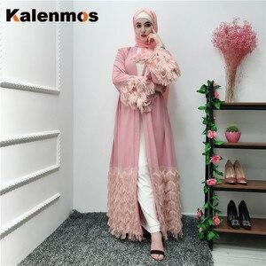 KALENMOS Dubai Open Abaya Muslim Hijab Dress Women Lace-up Plush Tassel  Jubah Kaftan Islamic Clothing Caftan Musulman Long Robe
