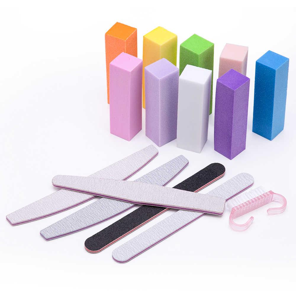 10 pièces rose forme tampons à ongles éponge lime à ongles tampon bloc vernis manucure pédicure ponçage tampon bandes Nail Art outil