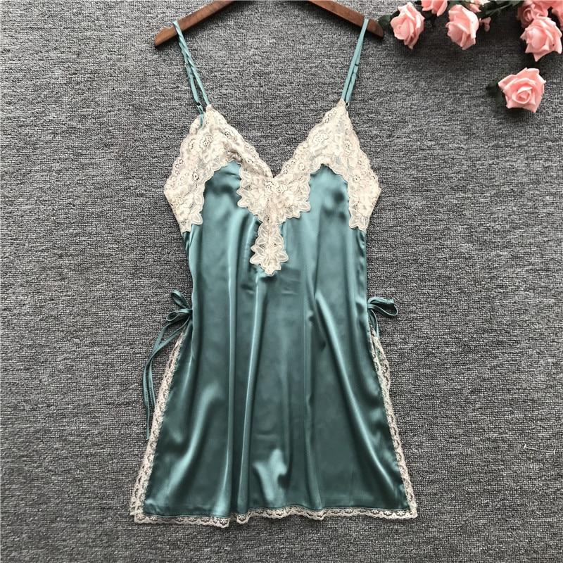 Feier Camisole Sexy Lingerie Lady Women Silk Lace Robe Dress Nightdress   Nightgown   Sleepwear   Sleepshirts