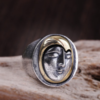 990 sterling silver jewelry Thai silver men's smiling girl ring