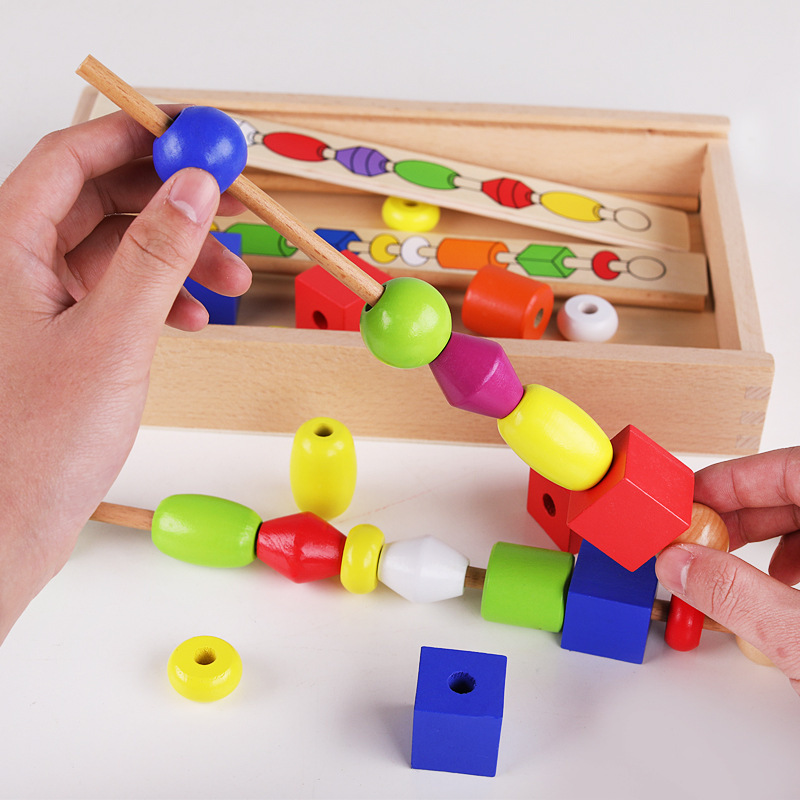 Wooden Stick Beaded Bracelet Box Children'S Educational Stick Beaded Bracelet Wear Beads Montessori Wooden Toys Baby Early Child