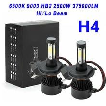 Водонепроницаемый IP68 светодиодный свет 4 стороны H4 светодиодный фары лампы высокой/ближнего и дальнего света 6500K 9003 HB2 2500W 375000LM