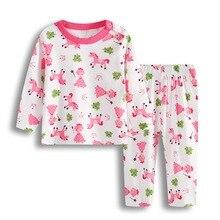 Пижамный комплект для маленьких девочек; одежда для сна для новорожденных; Мягкие хлопковые пижамы для младенцев с героями мультфильмов; пижамы для малышей; одежда с длинными рукавами