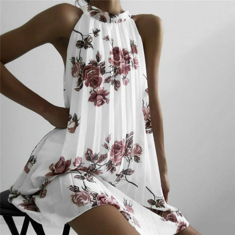 Fashion Women Boho Beach Summer Sleeveless Halter Floral Dress Elegant Off Shoulder Loose Sundress Ladies Dames Streetwear