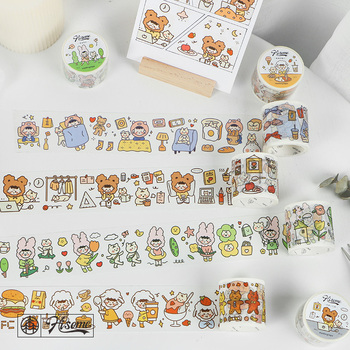Small Theater Series Bullet Journal Washi Tape Cat Bear Adhesive Tape DIY Scrapbooking Sticker Label Japanese Masking Tape
