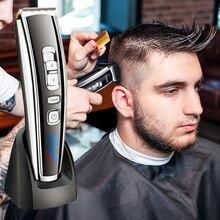 Máquina de cortar cabelo sem fio elétrico profissional usb recarregável cortador de cabelo aparador de cabelo dos homens de aço display lcd ferramenta penteado