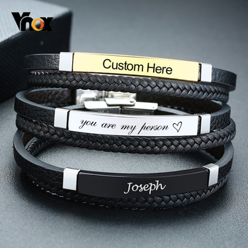 Vnox Personalize Braided Genuine Leather Bracelets for Men Customize Name Words Stainless Steel Casual Male Bangle mkendn new design braided genuine leather bracelets men stainless steel airplane anchor bracelets female friendship gifts