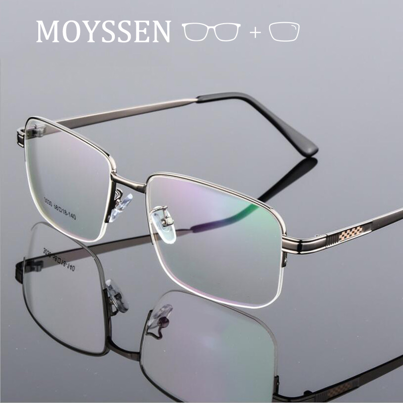 Oversize Square Business Men Prescription Glasses Big Ultralight Titanium Alloy Half Frame Myopia Presbyopia Eyeglasses For Male