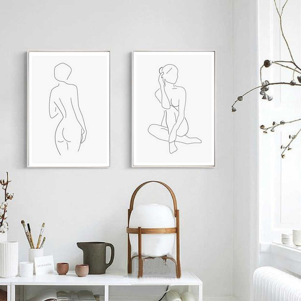 Nude Woman Body Fine Line Print Abstract Art Drawing Picture Canvas Painting Scandinavian Wall Art Poster Minimalist Home Deco Aliexpress