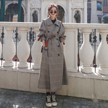 Chic Plaid Trench Coats Women Clothes Spring 2020 England Wind Coat Lapel Sashes Long Windbreaker Ladies Loose King-size