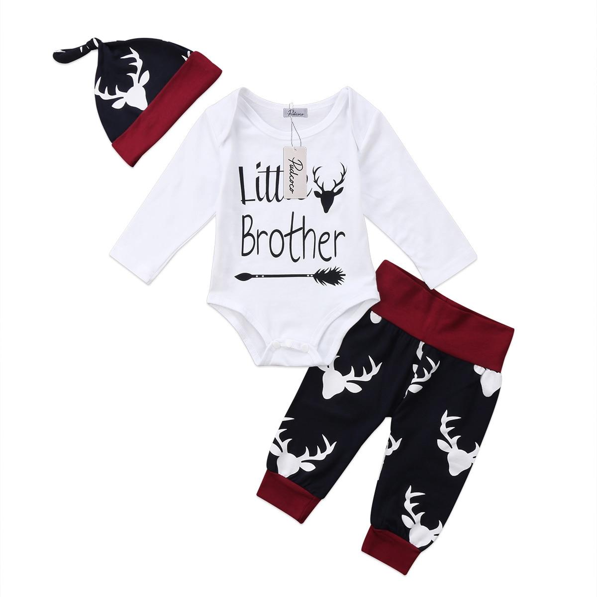 Pudcoco 3Pcs Little Brother Deer Outfits Newborn Infant Baby Boy Clothing Sets Cotton Romper Pants Hat Clothes 0-18M US