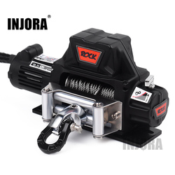 INJORA RC Car Metal Steel Wire Automatic Simulated Winch for 1/10 RC Crawler Car Axial SCX10 90046 D90 Traxxas TRX4 Redcat