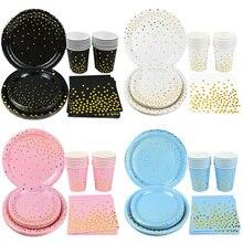 Set di stoviglie usa e getta da 40 pezzi Set di tazze usa e getta in oro piatti tovaglioli di carta per matrimonio decorazioni per feste di compleanno per bambini adulti