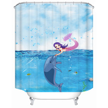 Cartoon dolphin mermaid interactive polyester printing waterproof bathroom shower curtain bathroom partition curtain with hook