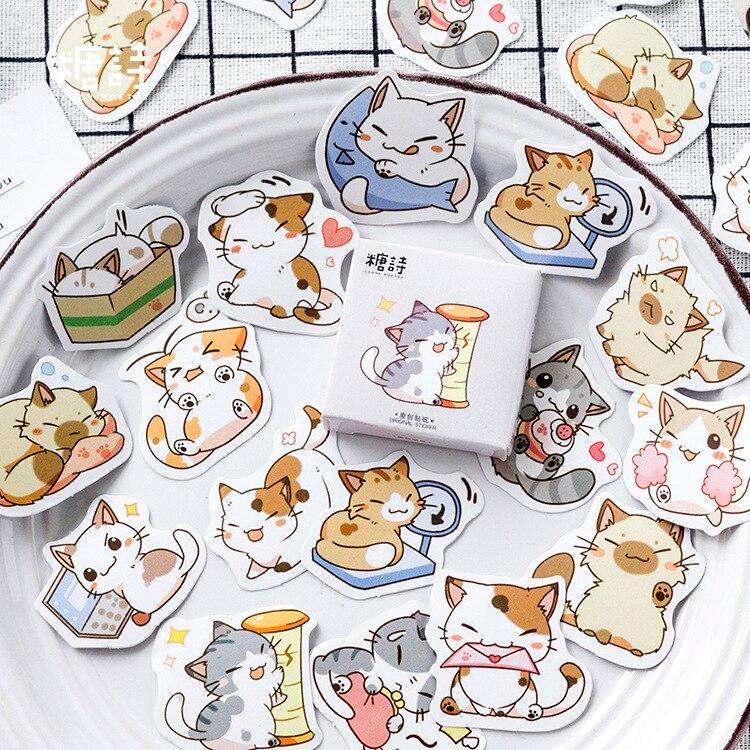 Mohamm 45 Pcs Cute Cat Scrapbooking Stickers Cartoon Paper Sticker Flakes Stationary Office Accessories Art Supplies