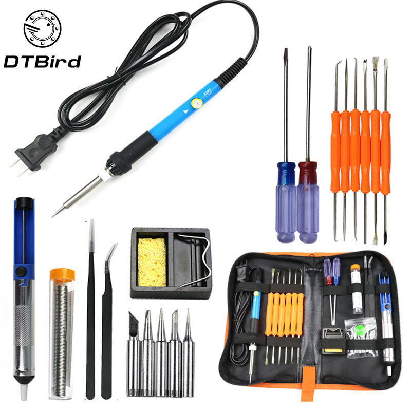 220V 110V 60W Adjustable Temperature Electric Soldering Iron Kit Fast Heating Soldering Iron Portable Welding Repair Tools