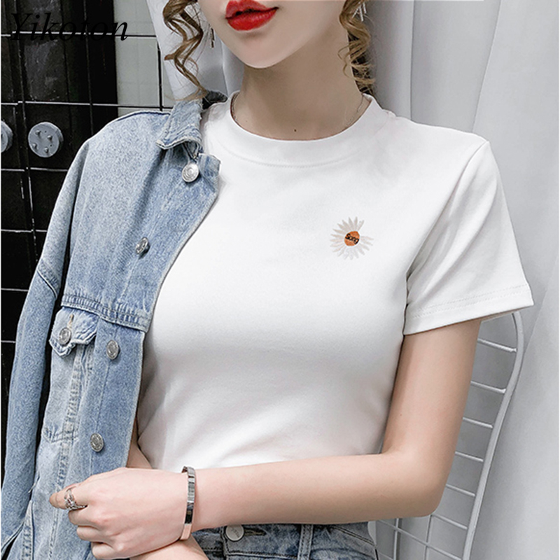100% Cotton Womens T-Shirt Embroidery O Collar T Shirts Short Sleeve Clothes Women Slim Basic Tshirt Casual Top Tees For Female 2