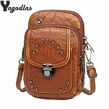 Vintage PU Leather Crossbody Bags Rivet Women Messenger Shoulder Bag Small Female Handbags and Purses Black and Brown(China)