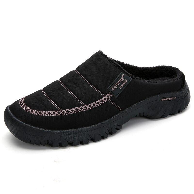 Home Shoes Winter Shoes Men Indoor Slippers Slip-On Flip Flops Antislip Fur Slides Bedroom Floor Mules Pantuflas Homme
