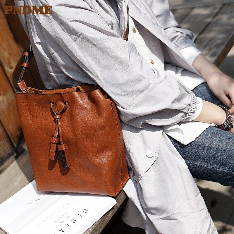 PNDME fashion vintage high quality genuine leather women's shoulder crossbody bag designer handmade casual ladies party bag