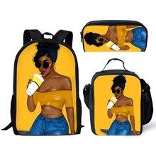 NOISYDESIGNS School Bags for Girls Black Art Afro American Women Print Bagpack Children 3pcs/set Preppy Bookbag Kids Bag