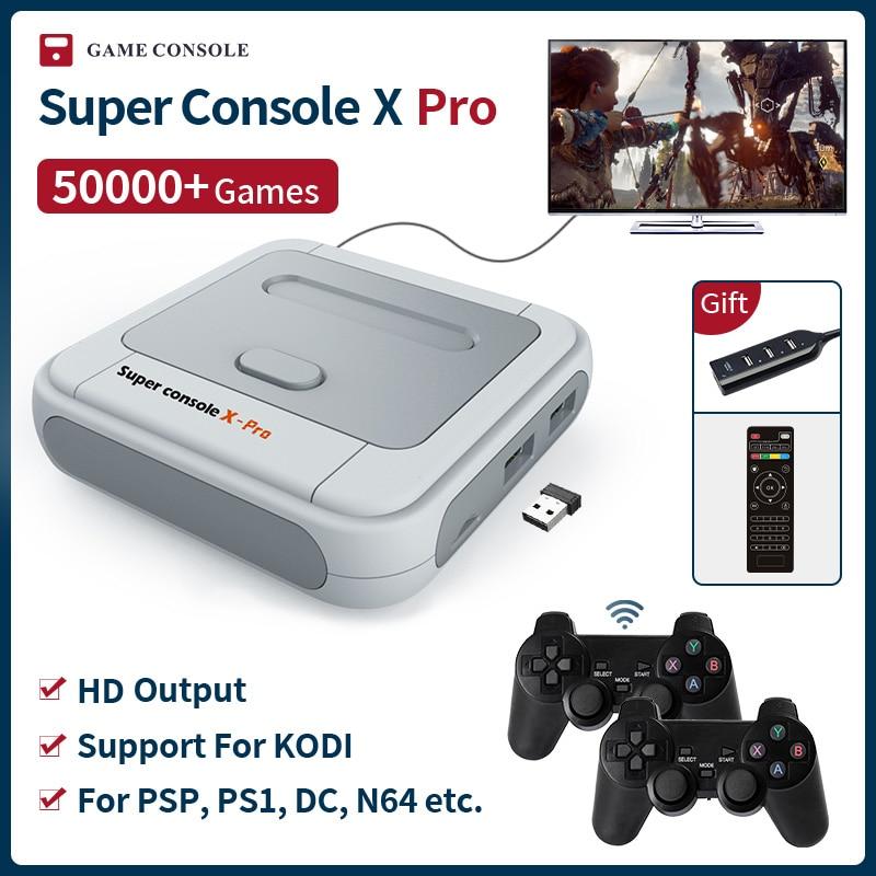 Super console x pro s905x hd wifi saída mini jogador de vídeo da tevê para jogos psp/ps1/n64/dc sistema duplo embutido 50000 + jogos