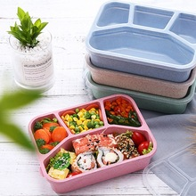 Practical Portable 4Grids Travel Food Storage Containers Leak proof  Lunch box Microwavable Box Bento for adults children