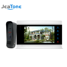 JeaTone 7 Inch Color LCD Video Intercoms Touch Button Monitor Home Security System Waterproof Mini Doorbell Camera 1200TVL Night