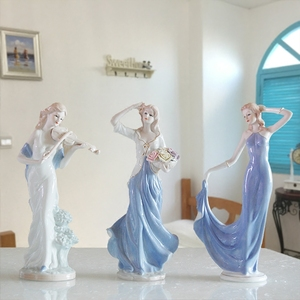 Europe Ceramic Beauty Figurines Home Furnishing Crafts Decoration Western Porcelain handicraft Ornament Wedding Gift A
