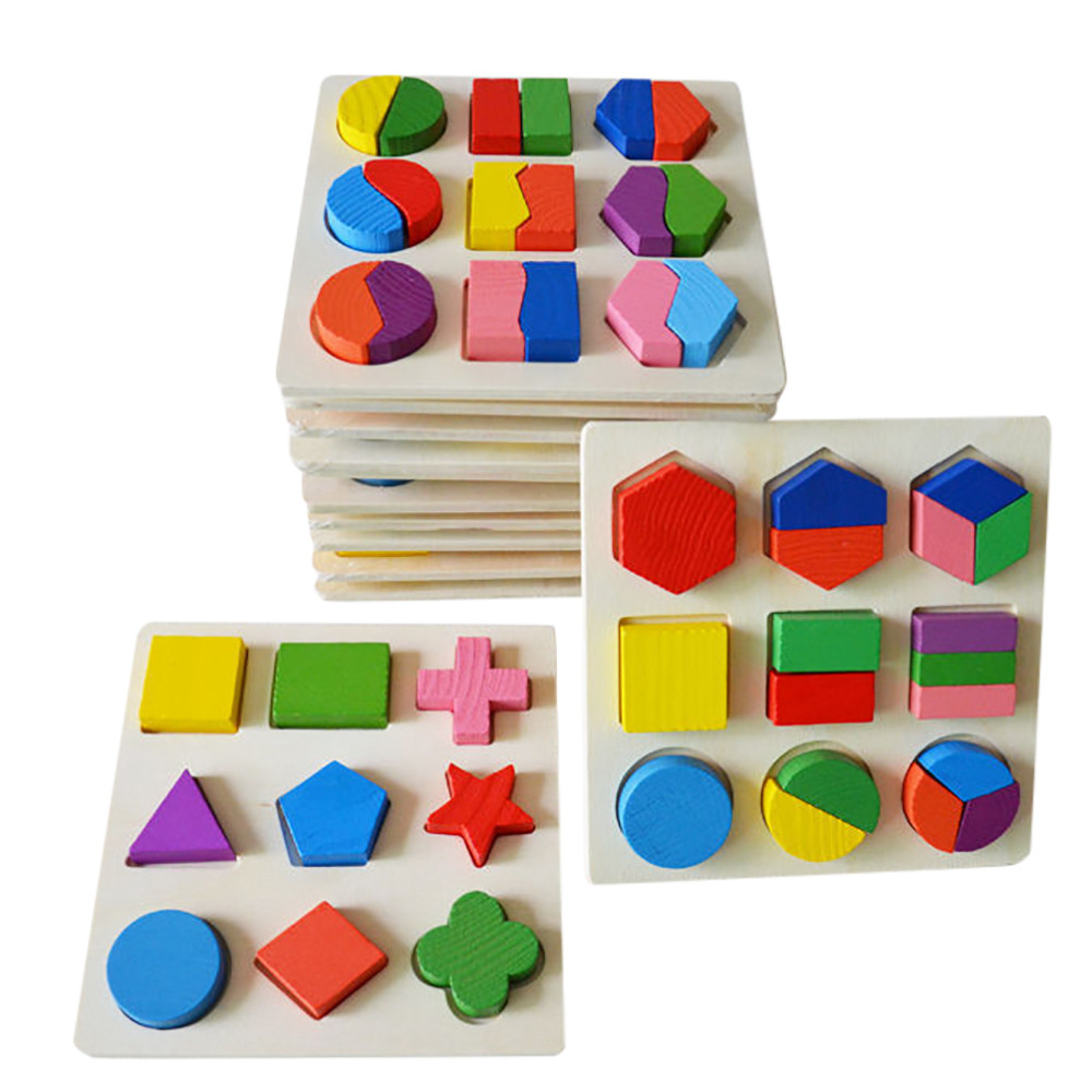 Kids Baby Wooden Geometry Building Puzzle Early Learning Educational Toy Puzzle Kids Toys Baby Geometric Model Building(China)