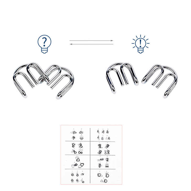 8pcs/Set Metal Wire Puzzle IQ Mind Brain Teaser Puzzles Game Adults Children Kids  Early Educational Toys A Nice Gift.