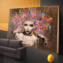 Graffiti Art Of African Woman Canvas Paintings On the Wall Posters And Prints Black Pictures Home Decor Cuadros