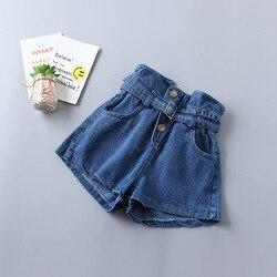 Summer New Arrivel Girls Denim Shorts Autumn Mid-waist Belt Pants For Kids Children Clothes 2-6 Years Old