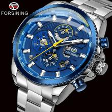купить FORSINING Top Brand Luxury Mens Watches Calendar Display Black Stainless Steel Automatic Wristwatch Military Sports Male Clock по цене 1951.33 рублей