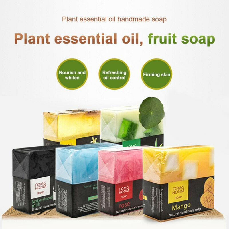 Thai Fruit Soap Natural Rose Bamboo Charcoal Moisturizing Hydrating Exfoliating Hand Washing Cleansing Soap Face Body Care TSLM2