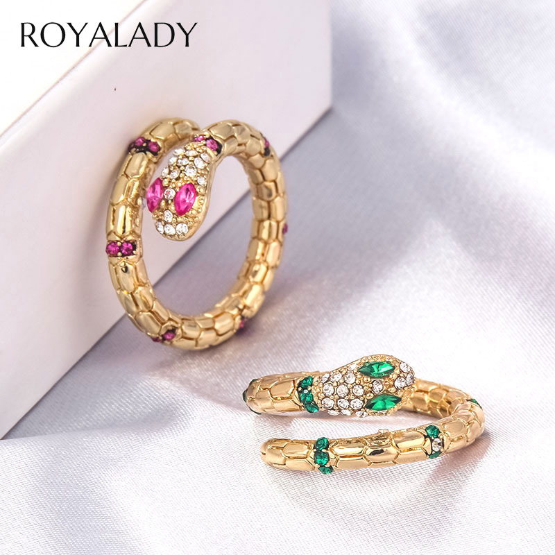 Fashion Metal Snake Adjustable Ring For Women Punk Rock Exquisite Shiny Cubic Zirconia Finger Ring Copper Gold Jewelry Gift 2020
