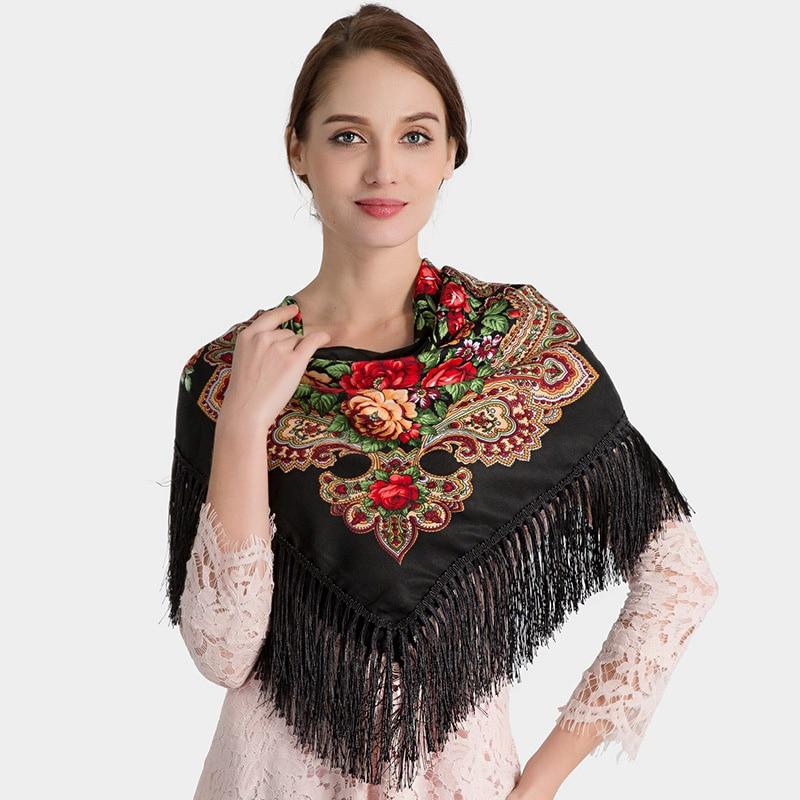 Russian Shawl Square Babushka Pashmina Woman Winter Scarf Head Wraps Female Retro Floral Pattern Tassel Cotton Scarf Hijabs