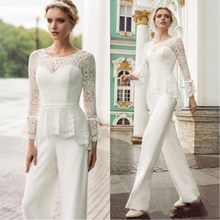 Gorgeous Mother 's Pants Suit With Lace Up Long sleeves Sash Ribbon Floor Length Jumpsuit Wedding Guest dresses Formal Evening