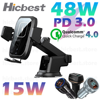 15W Wireless Car Charger Phone Holder for iPhone Wireless Charging Car Induction Charger Mount for iPhone 12 SE 11 8 Samsung S20
