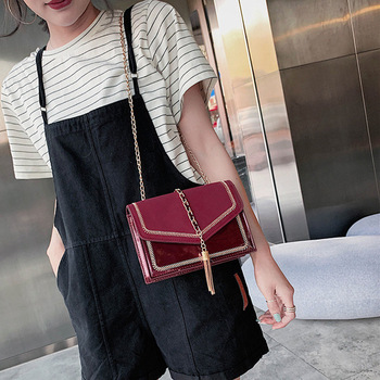 Purple Western Style Senior Feel Bag Woman 2019 Chain Small Square Tassels Leather Single Shoulder