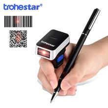 цена на Trohestar Wireless Finger Scanner 2D Portable QR Code Ring Barcode Scanner Wearable Mini Bar Code Reader Bluetooth Scanners