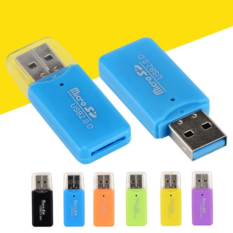Alta qualidade simples usb 2.0 micro sd tf flash leitor de cartão de memória mini adaptador plástico portátil para portátil sh conversores móveis