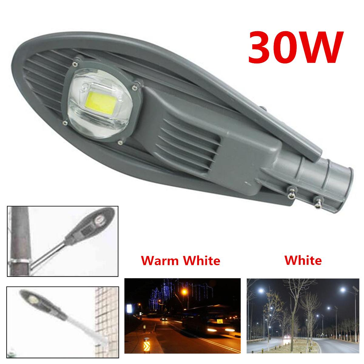 Grey 30W LED Street Light Waterproof Outdoor Night Lamp Park Square Road Hotel Bridge  Light Decoration Outdoor Lighting