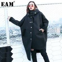 [EAM] Свободная черная плотная куртка из искусственной кожи большого размера, Новое Женское пальто с капюшоном и длинным рукавом, модное осенне-зимнее пальто 1H255
