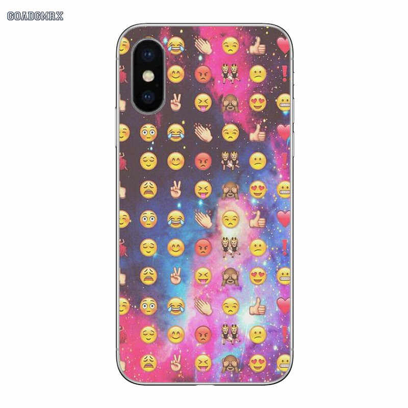 Для iPhone 11 X XR XS Pro MAX 4 4s 5 5S SE 5C 6 6S 7 8 Plus мягкие прозрачные чехлы Чехлы забавные смайлики лицо телефон Emoji