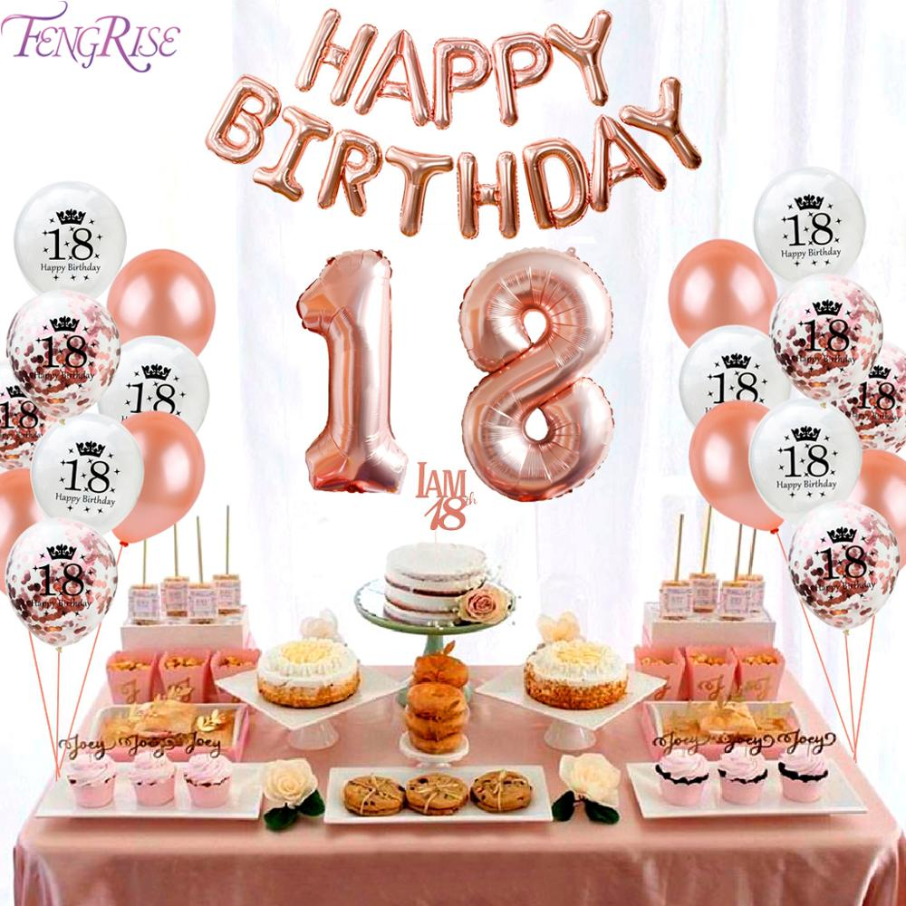FENGRISE Rose Gold Confetti Balloons 18th 21th Birthday Balloon Happy Birthday Baloon Birthday Party Anniversary Party Ballon in Ballons Accessories from Home Garden