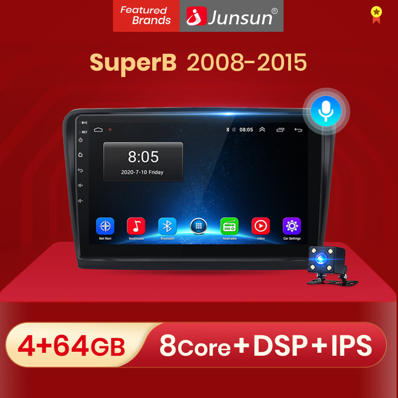 Junsun V1 2G + 32G Android 10,0 RDS ForSkoda Superb 2 2008-2015 автомобильный Радио Мультимедиа Видео плеер навигация GPS 2 din dvd